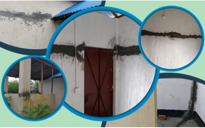 হস্তান্তরের ৮ মাসেই মির্জাপুরে দুর্যোগ-সহনীয় ঘরে ফাটল
