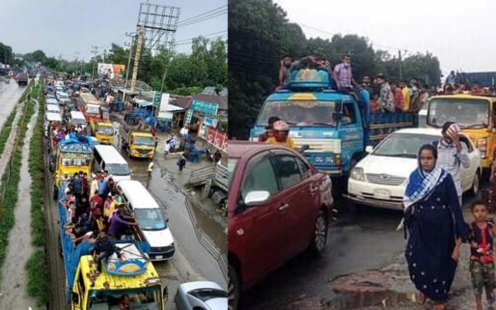 ঢাকা-টাঙ্গাইল মহাসড়কে গার্মেন্টস শ্রমিকদের ঢল